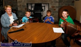 Anne McAuliffe pictured with her final three Master Class pupils, from left: Liam Kerrisk and Kerill Healy, Kilcummin and Cian Daly, Rockchapel at the Scartaglin Heritage Centre on Saturday evening. ©Photograph: John Reidy