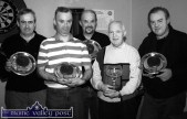 The Pitch & Putt Darts Team which won the 2002/03 Castleisland Town League by defeating The Half Barrel in the final at The Half Barrel. From left: Danny O'Connor, Johnny Walsh, Joe O'Connor, Joe Geaney, captain and Willie O'Connor. ©Photograph: John Reidy 24-3-2003