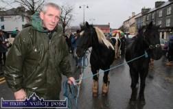 John Joe O'Reilly, Kilgarvan pictured on arrival at Castleisland's annual November 1st Horse Fair on Saturday. ©Photograph: John Reidy