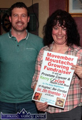 Hughes' Bar host and co-organiser, Seán Hughes pictured with Siobhán McCrohan at the launch of Movember 2014 at Hughes' Bar. ©Photograph: John Reidy 13-11-2014