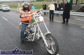 Biker on the Bypass: Castleisland businessman, Den Joe O'Connor was the first biker to travel on the N21 Castleisland Bypass after it was officially opened by Minister for Defence Tony Kileen, TD on Friday morning. ©Photograph: John Reidy 22-10-2010