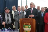 Minister for Defence, Tony Kileen, TD addressing the gathering at the official opening of the N21 Castleisland By-pass in October 2010. Included are: Jackie Healy Rae, TD; Monsignor Dan O'Riordan, P.P. Castleisland; Cllr. Bobby O'Connell, Rev. ??? Cllr. Arthur Spring, Mayor of Tralee; John O'Donoghue, TD; Tom McEllistrim, TD; Senator Paul Coughlan and Cllr. Michael O'Shea. ©Photograph: John Reidy 22-10-2010