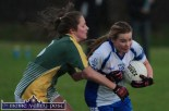 Desmonds wing-forward, Andrea Murphy breaking through the challenge of Southern Gaels full-back, Sinéad Clifford during their County Senior Football Division 1 League Final in Keel on Sunday afternoon. ©Photograph: John Reidy