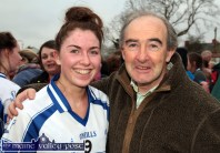 A beaming Eilísh Lynch is greeted by Séamus Falvey her former principal at St. Joseph's Presentation School after the All-Ireland Intermediate final in Corofin. ©Photograph: John Reidy 29-11-2014