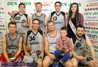 The Godfathers 2014 Division 3A Christmas Blitz winners: Front: Ronán Harnett, Maurice O'Connell, MVP award winner; Pa and Noah Fitzgerald and Denis Brosnan. Back row: Daniel O'Connell, captain; Kieran O'Callaghan, Philip O'Connell and Róisín Casey, Miss Basketball 2014. ©Phortograph: John Reidy 30-12-2014
