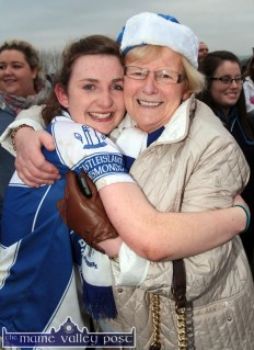 The Player of the Match, Cáit Lynch gets a huge hug from her nan, Cáit Browne after the final whistle in the All-Ireland Ladies Club Championship final in Corofin last November. ©Photograph: John Reidy 29-11-2014