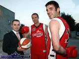 Gloves coming off: Garvey's Super Valu, Castleisland branch manager, John Quinn with former implacable court foes, Maurice Casey (centre) and new signing, Limerick inter county footballer, John Galvin at the announcement of the Team Garvey /St. Mary's squad for the 07/08 season at Castleisland Community Centre on Tuesday evening. ©Photograph: by John Reidy 18/09/2007