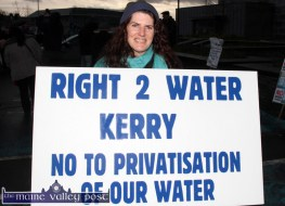 Elaine McFarland from Listowel was out on the Right2Water protest march in Castleisland this afternoon. ©Photograph: john Reidy