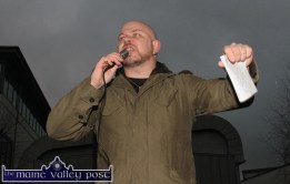 People Before Profit party member, Brian Finucane from Ballylongford speaking at the Right2Water protest march in Castleisland on Saturday afternoon. ©Photograph: John Reidy
