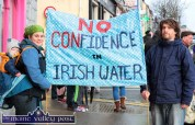 Cat, Gwyddion and Matt Hodd, Killarney pictured at the Right2Water protest march in Castleisland today. ©Photograph: john Reidy