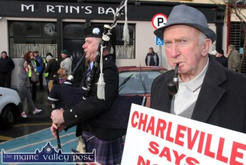 The Pipes, The pipes..: Tralee Piper, Denis O'Reilly and Charleville pipe smoker, Paddy Morrissey preparing for the Right2Water protest march in Castleisland this afternoon. ©Photograph: John Reidy