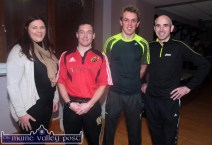 Mairéad Gallagher of Recovery Haven pictured with the first three men home: Seán O'Sullivan, An Riocht AC (1st) Arthur Fitzgerald, Farranfore Maine Valley AC (2nd and Ger O'Sullivan, An Riocht AC (3rd) in the Run Rudolph Run 5K Charity event in honour of the late Donal Curtin. ©Photograph: John Reidy 14-12-2014
