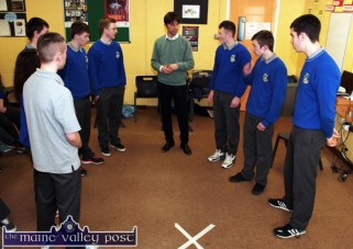 Drama Club founder and actor, Alan Devine with Castleisland Community College Transition Year students during their Public Speaking tuition day at the college on Thursday. ©Photograph: John Reidy