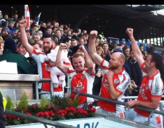 Salutes all round as the Brosna men celebrate their historic win in Croke Park. Photograph: Erika Cronin