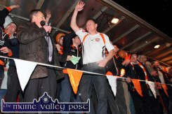 Team manager, Jimmy Keane being introduced on the platform by MC, Tim Moynihan during the home-coming reception on Sunday night. ©Photograph: John Reidy