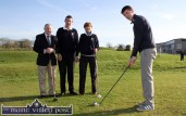 Junior club captain, David O'Donoghue lining up his drive in as captains: Domhnall de Barra (left) and Catherine Horan look on with club president, Maurice O'Connor at the launch of Castleisland members' Golf Club on Sunday morning. ©Photograph: John Reidy