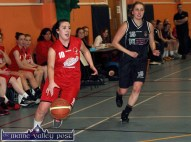 Eabhnait Scanlon driving the St. Mary's/Team Den Joe's American Style forward as Nicole Krusen of NUIG assesses the danger during their Women's National League Division 1 game at Castleisland Community Centre on Saturday night. ©Photograph: John Reidy