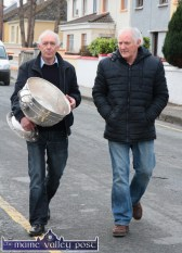 Sam on Tour: Castleisland Desmonds GAA Club Chairman, Jimmy O'Connell and former Kerry goalkeeper, Charlie Nelligan heading for Gaelscoil Aogáin during the visit of the Sam Maguire Cup to Castleisland on Wednesday. ©Photograph: John Reidy