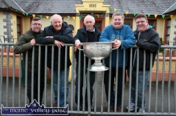 On tour with Sam Maguire at Gaelscoil Aogáin in Castleisland on Ash Wednesday were from left: Michael Burke, Charlie Nelligan, jimmy O'Connell, James Lyons and Steve Curtin. ©Photograph: John Reidy