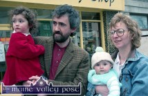 Gearoid and Ruth Nolan watching the 1997 St. Patrick's Day Parade in Castleisland with their little girls. ©Photograph: John Reidy 17-3-1997