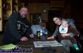 Paul Reese meets Sonny David Keane and mom Maggie Prendiville when they visited Sheila Prendivilles during Tuesday's St. Patrick's Day Parade in Castleisland. ©Photograph: John Reidy