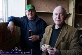 Willie Leane (left) and David 'Dauber' Prendiville pictured during a social visit to the closed Sheila Prendiville's during Tuesday's St. Patrick's Day Parade in Castleisland. ©Photograph: John Reidy
