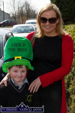 Aaron O'Mahony pictured with his mom Kate Shanahan at the start of Tuesday's St. Patrick's Day Parade in Castleisland. ©Photograph: John Reidy