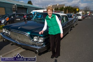 Helen Murnane from Lixnaw pictured with her vintage car at the start of the St. Patrick's Day Parade in Castleisland. ©Photograph: John Reidy