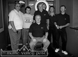 Captain, Mike O'Sullivan (seated) with his team from The Fountain Bar before the 1997 Beamish & Crawford Castleisland Town League Darts final at The Fountain Bar. Included are from left: Danny and Tony Broderick, Martin Morrissey, James and Timmy Broderick. They defeated The Greyhound Bar in the final. ©Photograph: John Reidy 10-6-1997
