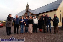 Here's to Hughes's Bar: Helping with the launch of Cordal's first licensed premises, Hughes's Bar, on Friday evening were, from left: Michael O'Connor, Tom Hughes, Lorraine O'Connor, Moira O'Connor, Mary O'Connor, Dermot Horan, Joan Daly, Denis Moriarty, Seán Hughes, proprietor and Johnny Cahill. ©Photograph: John Reidy 11-3-2005