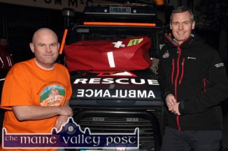The Longest Day Event founder member, Denny Greaney (left) pictured with Alan Wallace, Kerry Mountain Rescue PRO at the launch of the 2015 event at Tom McCarthy's Bar. ©Photograph: John Reidy
