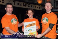 Ted (left) and Fiona Clifford from Currow pictured with organising group member, Tom McCarthy at the launch of The Longest Day Event in Castleisland on Monday evening. @Photograph: John Reidy