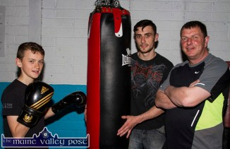 Irish Boxing Champion, Barry O'Connor pictured with Sliabh Luachra club coaches, Anthony Walsh and John O'Connell in training on Thursday night. Barry, from Killorglin, has been selected to join the high performance training squad in Dublin in the wake of his Irish title win. ©Photograph: John Reidy