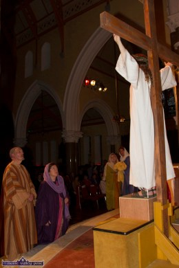 The powerful event nears its end as the followers gather at the scene of the crucifixion at the Church of Saints Stephen & John for the Good Friday Dramatisation of the Passion and Death of Christ by the Tralee based St. John's Parish Actors and Choir. ©Photograph: John Reidy 3-4-2015