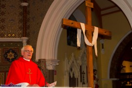 Monsignor Dan O'Riordan wrapping up the hugely successful Good Friday Dramatisation of the Passion and Death of Christ by the Tralee based St. John's Parish Actors and Choir at the Church of Saints Stephen & John. ©Photograph: John Reidy 3-4-2015