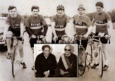 The Desmonds Cycling Team which competed in the two-day Rás Laigheann Cycle Race in Dublin in April 1964. Pictured on the old airport road are from left: Johnny Brosnan, Eamonn Breen, John Joe O'Connor, Brendan Brosnan and the late, Johnny Drumm. Inset: Eamonn Breen (left) pictured on a visit to Johnny Drumm song composer, Jackie Hartnett at his home in Abbeyfeale. ©Photograph: John Reidy (inset) main photo courtesy of Eamonn Breen.