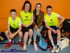 Adam O'Donoghue (left) pictured with: christine Brosnan, Amber O'Donoghue and Jason O'Connor waiting for their court-time at the annual KDYS / Garda Good Friday Basketball Blitz at Castleisland Community Centre. ©Photograph: John Reidy