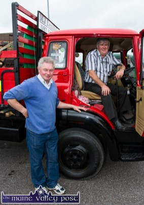 Pat Shanahan, Rathkeale with Mike Lenihan, Scartaglin and Kilcummin at Ahern's annual Opel Vauxhall vintage day in Castleisland on Saturday. Mike is pictured in his 1982 Bedford lorry which was bought in Ahern's in Castleisland 33 years ago. ©Photograph: John Reidy