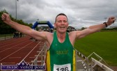 An elated An Riocht AC athlete Willie Guiney, Listowel shaved three minutes off his 2014 time at the An Riocht AC / Lee Strand Kingdom Come 10 Miler and 5K road race in Castleisland on Sunday morning. ©Photograph: John Reidy