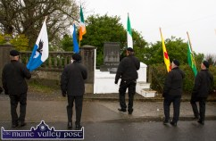 Members of the Sinn Féin Colour Party gather at the War of Independence monument at Castle View in preperation for the commemorations in Castleisland on Friday evening. ©Photograph: John Reidy 1-5-2015