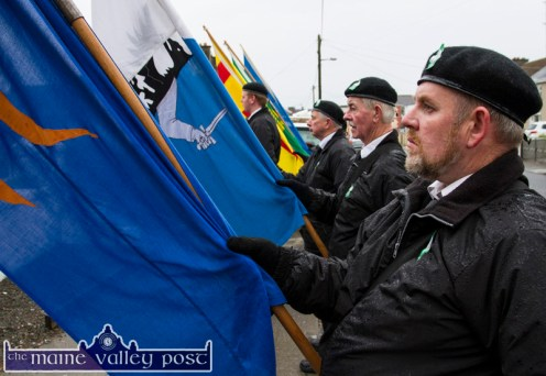 Members of the Sinn Féin Colour Party, from left: Timmy O'Connor, Scartaglin; Bernard Nolan and Joe Horgan, Tralee and Jimmy Long, Abbeydorney. They, along with: John Kelliher, Tralee, Mike Brosnan, Ballymacelligott and Moss Hannon, Kilflynn formed the party at the War of Independence monument at Castle View, Castleisland on Friday evening. ©Photograph: John Reidy 1-5-2015