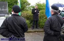 Cllr. Pa Daly, Sinn Féin delivering the oration at the Bonn/Doherty Cumann Commemoration at the War of Independence monument at Castle View in Castleisland on Friday evening. ©Photograph: John Reidy 1-5-2015
