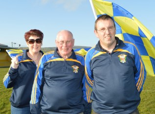 Club officers: Brid and Tom Wrenn with Richard O'Donoghue on duty for their big facilities relaunch later today. Photograph: Nora Fealey.