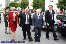 President Michael D Higgins, accompanied by his wife, Sabina with Listowel Writers' Week chairman, Seán Lyons and Arthur Spring, TD., as he arrived to officially open the 2012 world famous literary festival. ©Photograph: John Reidy 30-5-2012