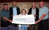 2014 Castleisland's Pieta House was among the charities to receive a cheque for €1,000 from the River Island Hotel 31Players before their weekly game. Players include from left: Dave O'Mahony, Currow; Mick Leahy, Brosna; Hannah Hickey, Currow; Billy O'Sullivan, Brosna and John McMahon, Currow. ©Photograph: John Reidy 13-7-2014