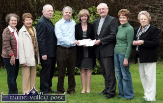 2011: Joan Freeman of Pieta House founder receiving presentations from Tom McAuliffe of the Holy Trinity Prayer Group and from Msgr. Dan O'Riordan, PP Castleisland on behalf of the parish. Included on the occasion were from left: Kathleen McAuliffe, Rose Scanlon, Fr. Michael Moynihan, CC Castleisland; Nora Murphy and Helen Stack. ©Photograph: John Reidy 20-4-2011