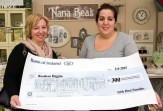Antoinette Butler, irishhostfamily.ie (left) presenting a cheque for €300 to Special Olympics World Games Volunteer, Rosaleen Higgins at Nana Bea's Cafe. ©Photograph: John Reidy