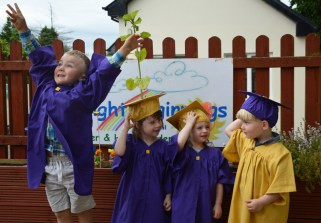 The sky's the limit for Kieran Jones who is pictured here with classmates Nessa McAuliffe, Jean McGuire and Michael O'Connell. The children graduated from Bright Beginnings Preschool on Wednesday.