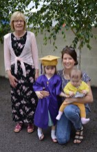 Nessa McAuliffe who graduated from Bright Beginnings on Wednesday pictured with her mom, Mairéad and grandmother, Joan McAuliffe. Photographs by: Liz Galwey