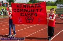 Caoimhe Daly and Jamie O'Regan with the Kenmare banner at the Denny Kerry Community Games Athletics Finals at An Riocht AC, Castleisland on Saturday morning. ©Photograph: John Reidy